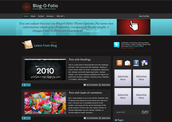 blog o folio free wordpress theme 15 Free 2012 Kickstart WordPress Themes