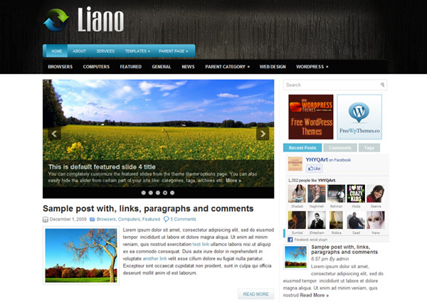 liano free wordpress theme 15 Free 2012 Kickstart WordPress Themes