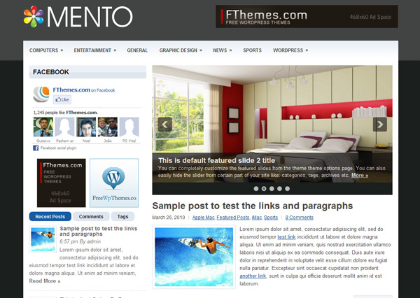 mento free wordpress theme 15 Free 2012 Kickstart WordPress Themes