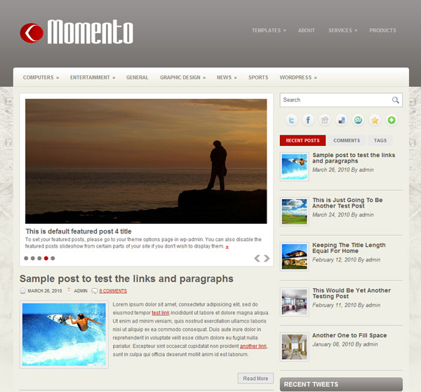 momento free wordpress theme 15 Free 2012 Kickstart WordPress Themes