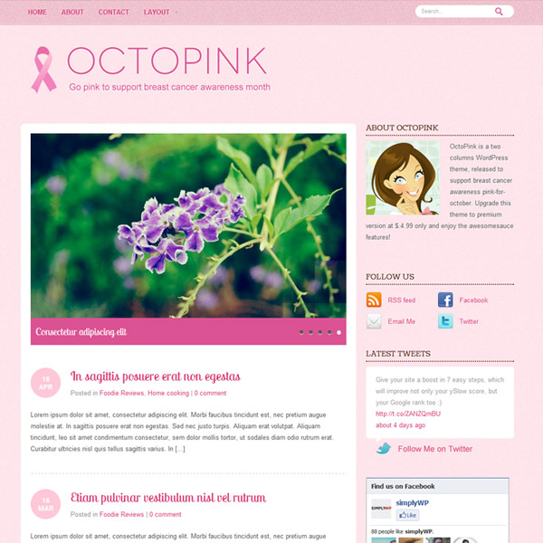 octopink free wordpress theme 15 Free 2012 Kickstart WordPress Themes